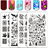 Ejiubas Stamping Plates Christmas Nail Stamping Kits Halloween & Christmas Image Nail Art Plates Manicure Tools Double-sided 2 Counts
