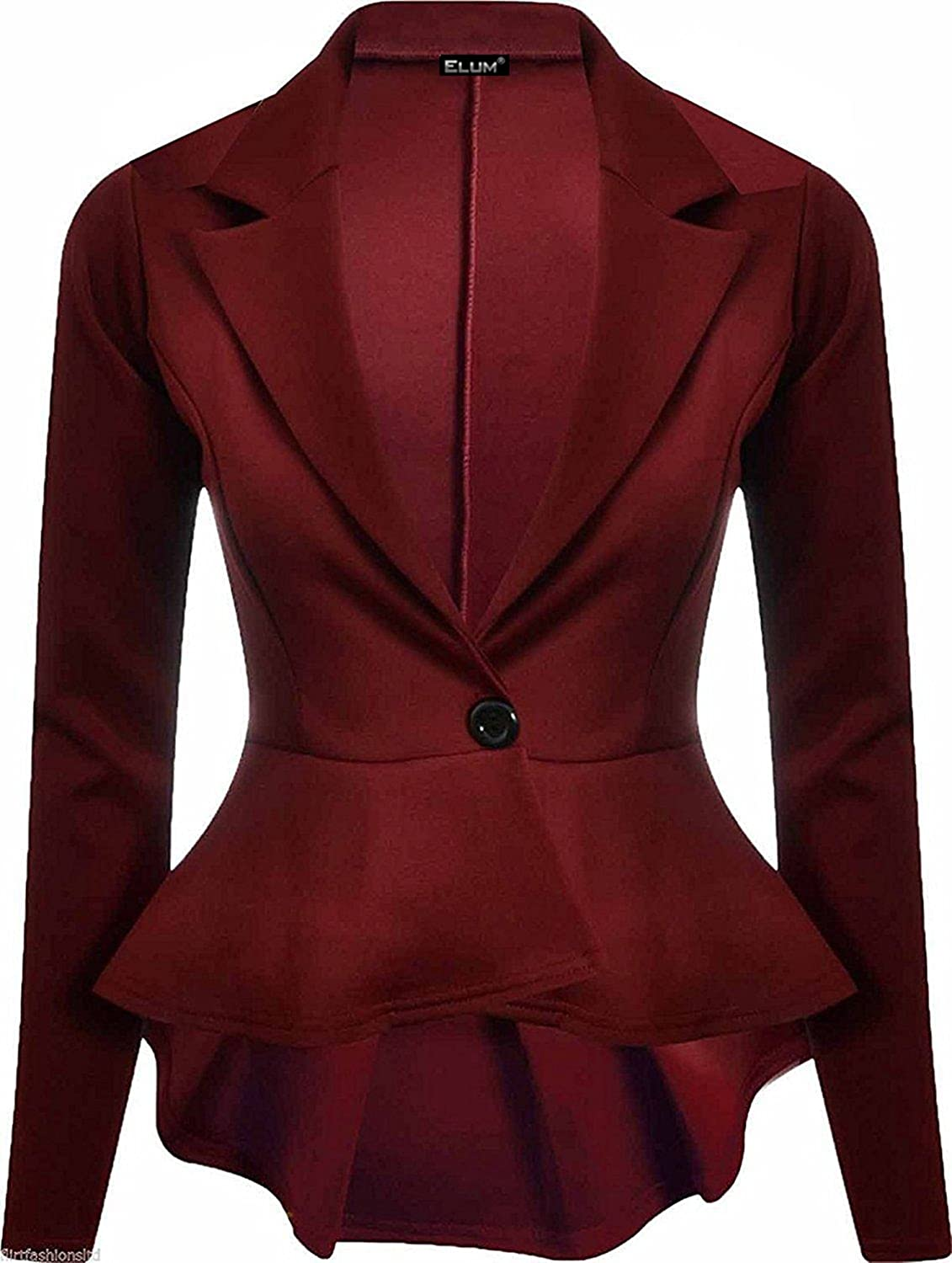 Elum® Womens Long Sleeves Crop Frill Shift Slim Fit Peplum Blazer Jacket Coat