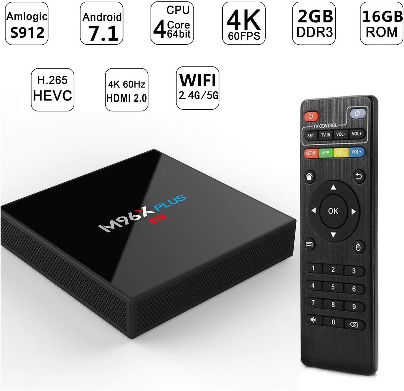 WXJHA Smart TV Box Amlogic S912 2 GB de RAM 16 GB de ROM Set Top Box Android 7.1 Soporte HDMI 2.1 / H265 VP9 decodificación de vídeo/Dual WiFi 2.4G /5.0G Box