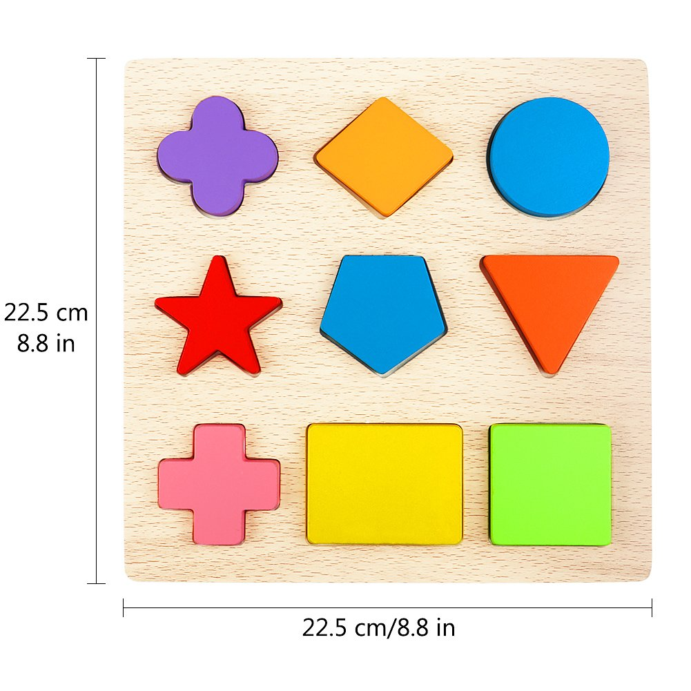 Shapes Puzzle Lewo Wooden Preschool Shape Puzzles Geometric Sorting Games Early Development Educational Toys for Toddlers Boys Girls