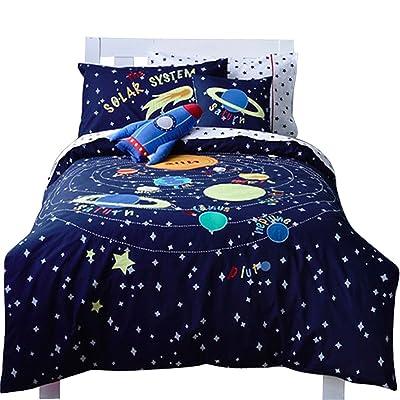 76839a6c15e Jameswish Universe Adventure 2-Piece Kids Bedding Sets 100%Cotton Applique  for Children Boys 1Duvet Cover 1Pillowcases Lightweight Washable Machine