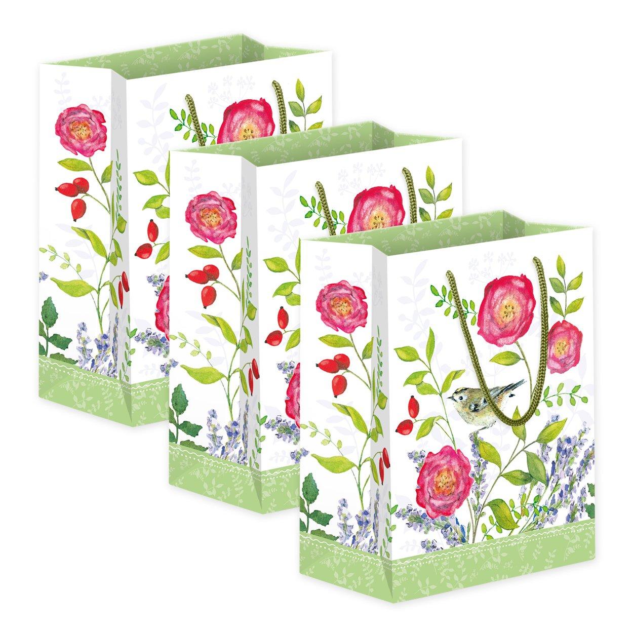 perfekt f/ür Geschenke geeignet retro V/ögel set 3 mittlere Geschenkt/üten//T/üten aus Papier nostalgie 18 x 22 x 10 cm