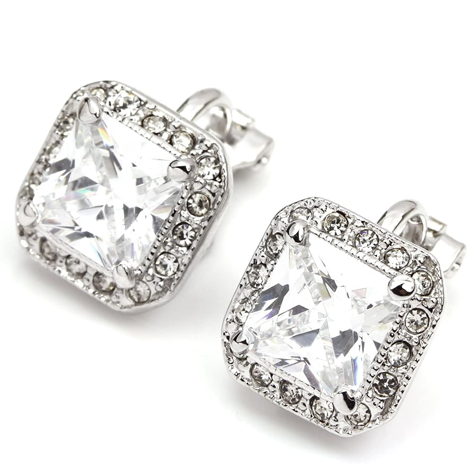 Colorfulday White Gold Plated Crystal Square CZ Princess Clip-on Earring for women qTYiY9anN
