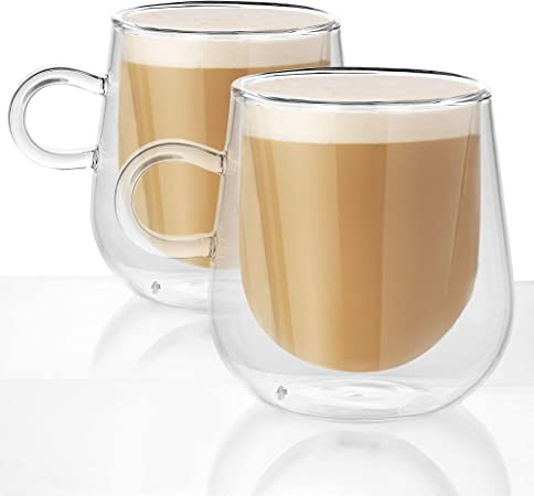 Set of 2 Double Walled Insulated 275ml Glass Mugs | Heat