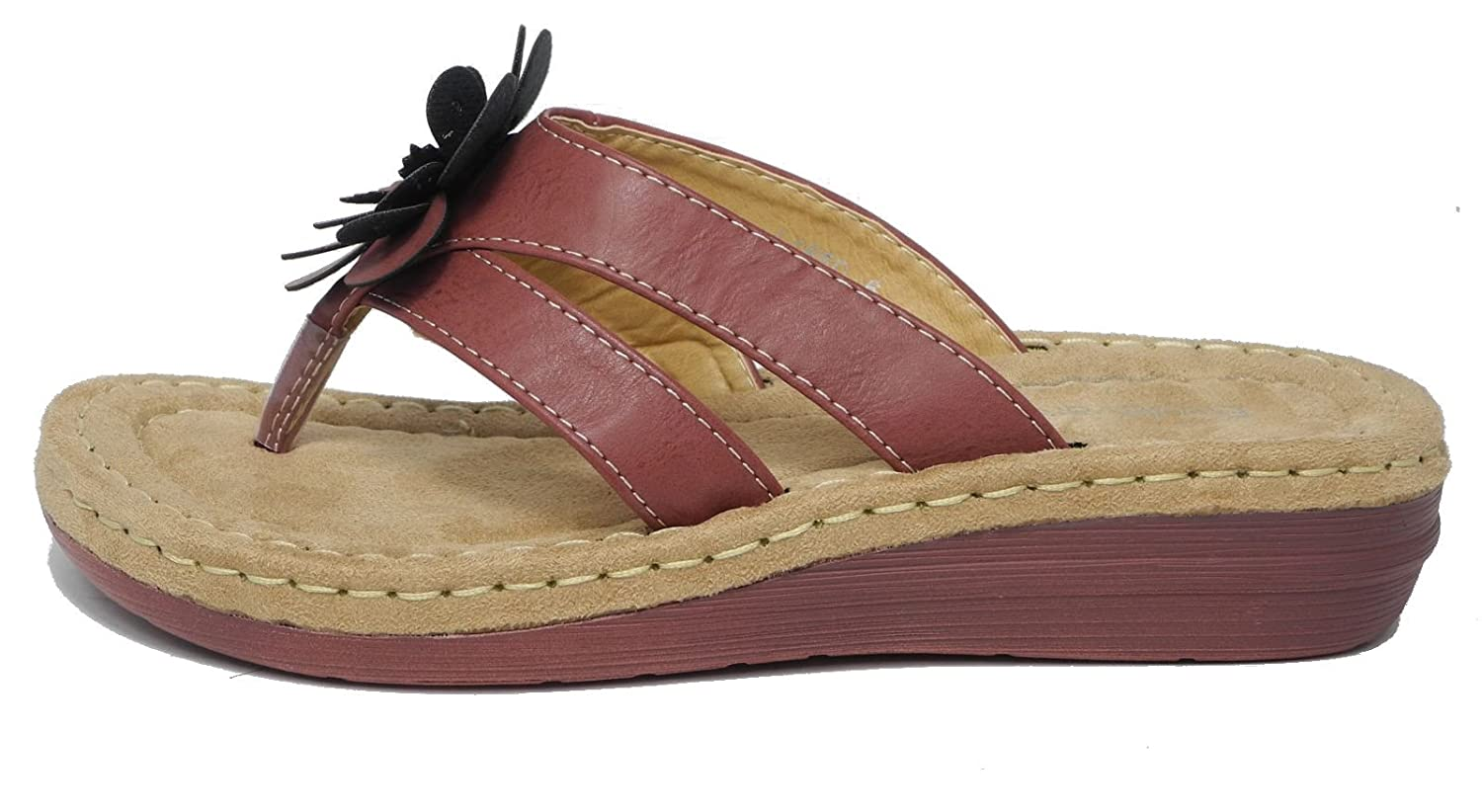 Womens Ladies Leather Look Toe Post Flip Flops Cushion Comfort Sandals  BURGUNDY 6: Amazon.co.uk: Shoes & Bags