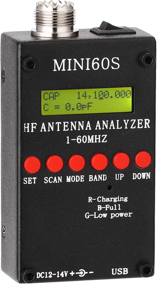 Negro Gecheer Analizador de Antena Mini60S con BT Android APP Software de PC para Aficionados a la Radioafici/ón