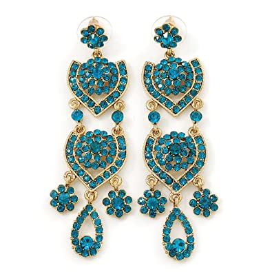 Divine extravagance teal austrian crystal chandelier earrings in divine extravagance teal austrian crystal chandelier earrings in gold tone 80mm l mozeypictures Image collections
