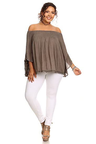 33c99972bb586 MeshMe Womens Myrna - Taupe Olive Plus Size Off Shoulder Smocked Casual  Boho Chic Bohemian Flare