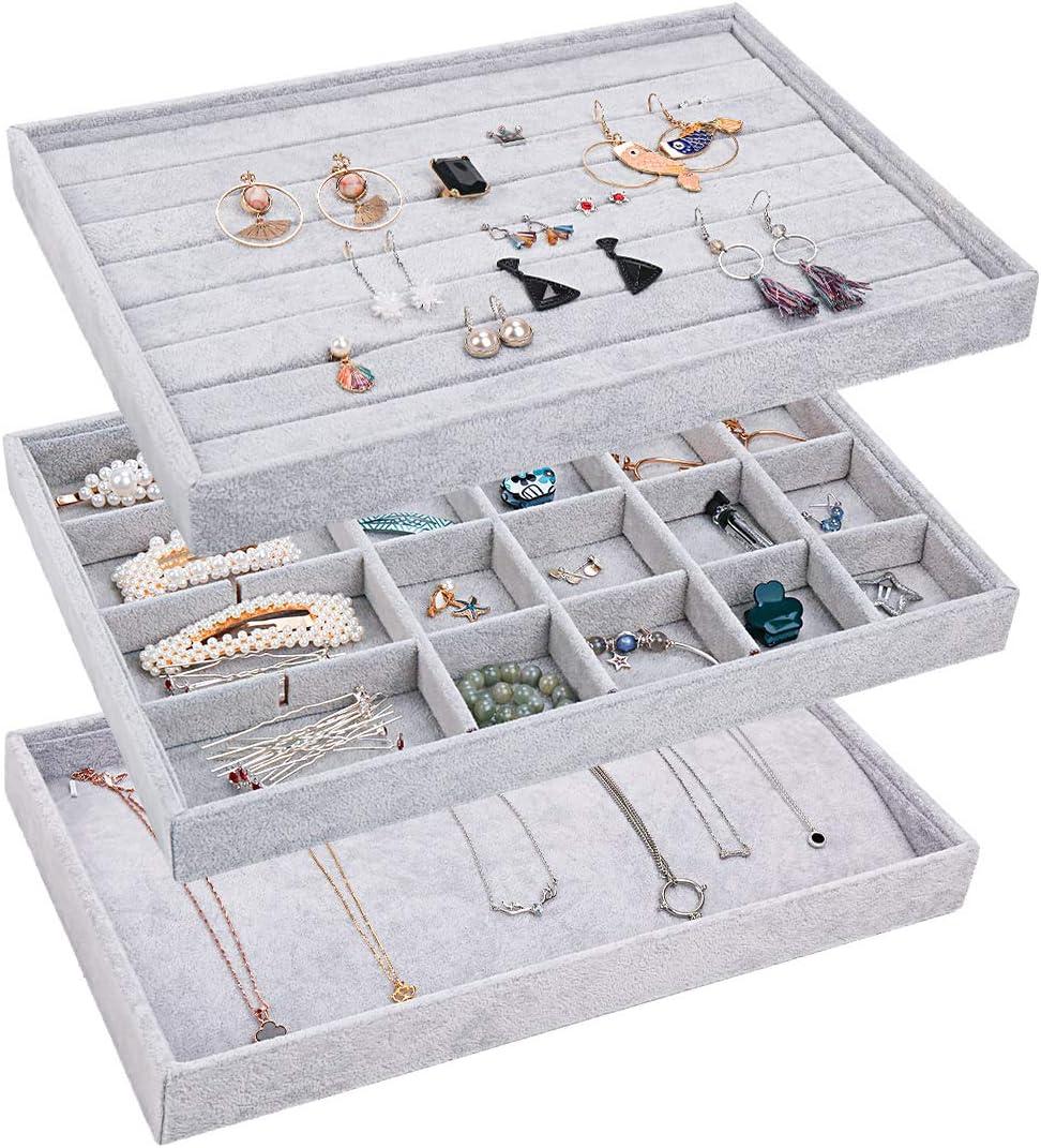 Jewelry Storage Display Trays Gray Earring Necklace Bracelet Ring Organizer Set of 4 Velvet Jewelry Tray,Stackable Jewelry Trays Organizer for Drawer