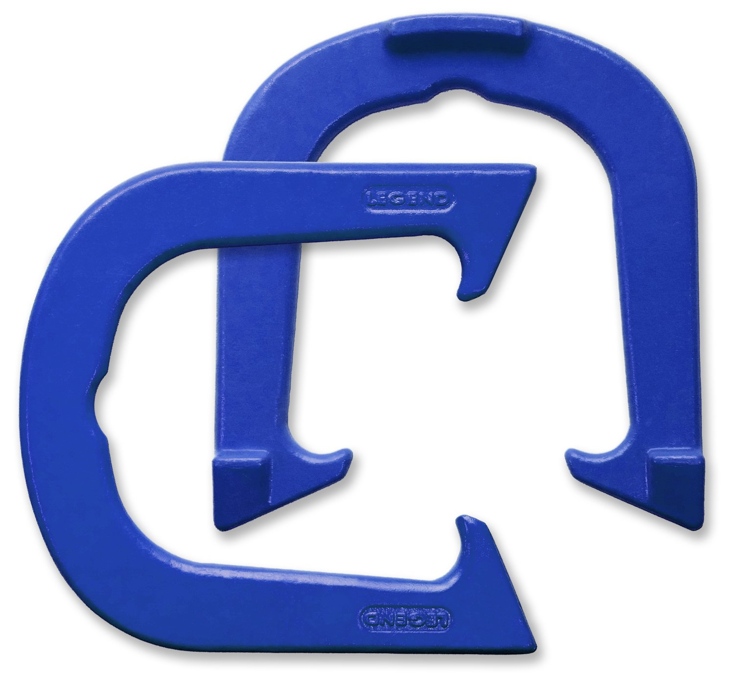 Legend Professional Pitching Horseshoes - Blue Finish - NHPA Sanctioned for Tournament Play - Drop Forged Construction - One Pair (2 Shoes) - Medium Weight by Legend Horseshoes