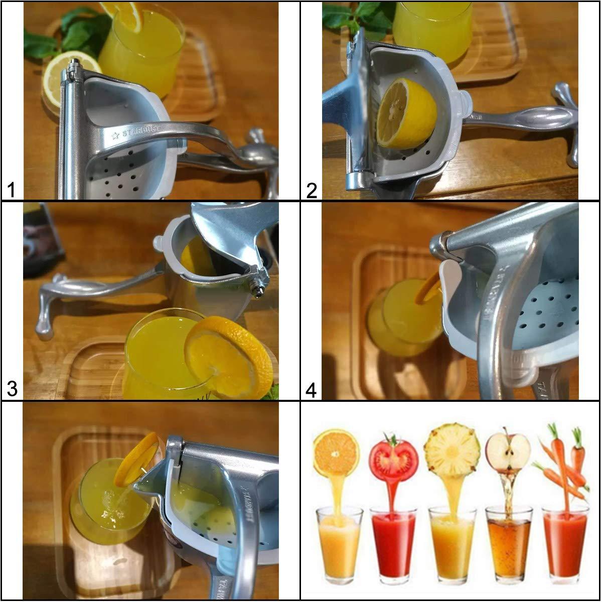 Homend Heavy Duty Single Press Aluminium Lemon Squeezer Manual Press Juicer Hand Press Fruit Juicer Silver