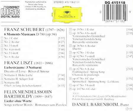 Liszt: Liebestraume/Schubert: Daniel Barenboim: Amazon.es: Música