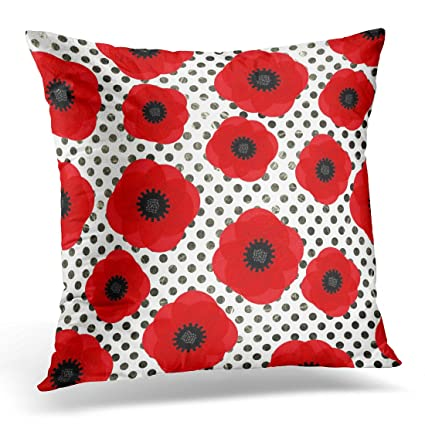 Amazon TORASS Throw Pillow Cover Floral Wild Red Poppy Flowers Cool Poppy Floral Decorative Pillows