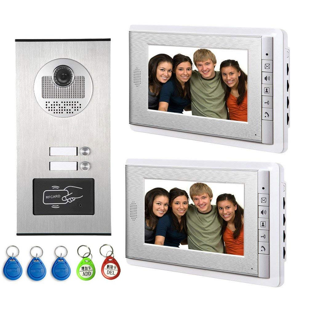 AMOCAM Video Intercom Entry System, Wired 7 inches LCD Monitor Video Door Phone Doorbell with 5PCS ID Card for 2 Units Apartment, Support Monitoring, Dual Way Door Intercom, RFID Keyfob Unlock