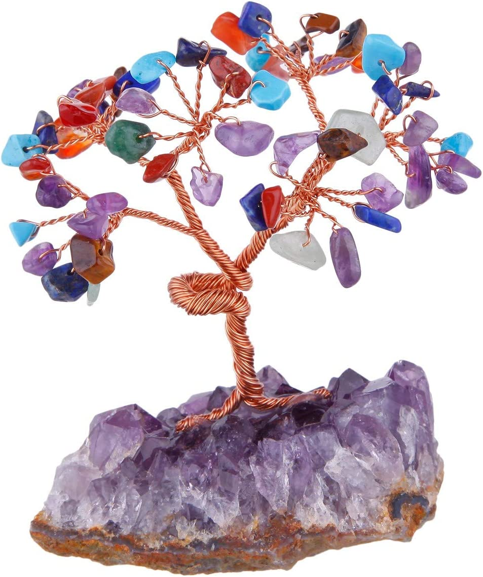 mookaitedecor Árbol de Dinero, Gemas Feng Shui Adornos de árbol de Cristal curativo, Piedras de Cuarzo Roca Rough Stone Cluster Base Bonsai, Piedra, Color Mezclado