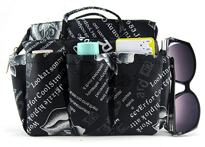 Periea Handbag Organiser LARGE 13 Compartments Black-Marina FREE key clip