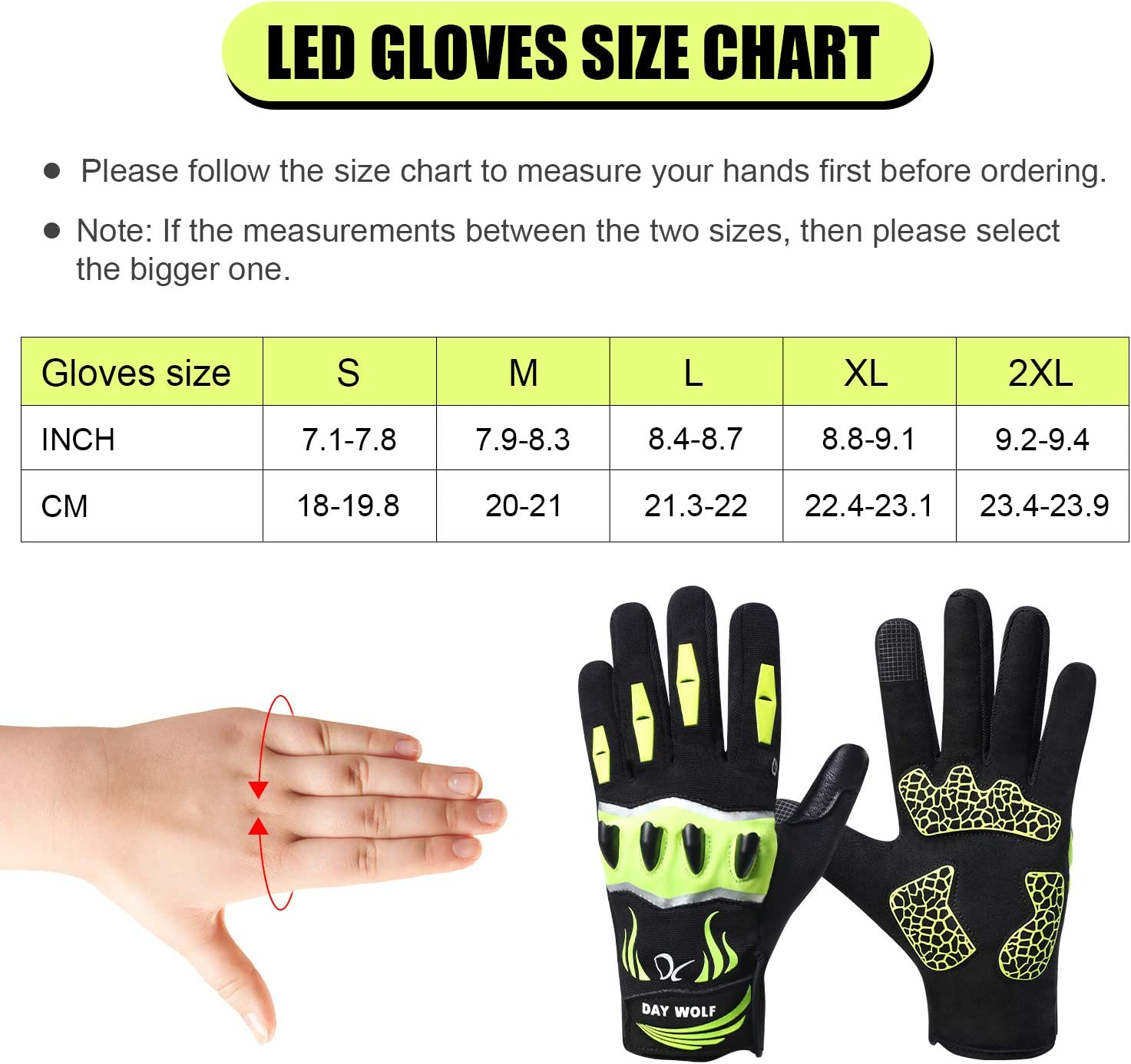 1 Pair LED Flashlight Cycling Gloves LED Flashlight Torch without Battery Black