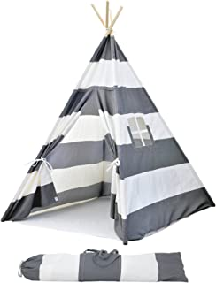Striped Kids Teepee Tent - Portable Canvas Tent No Extra Chemicals Includes Carrying Case  sc 1 st  Amazon.com & Amazon.com: DalosDream Teepee Tent For Kids-100% Natural Cotton ...