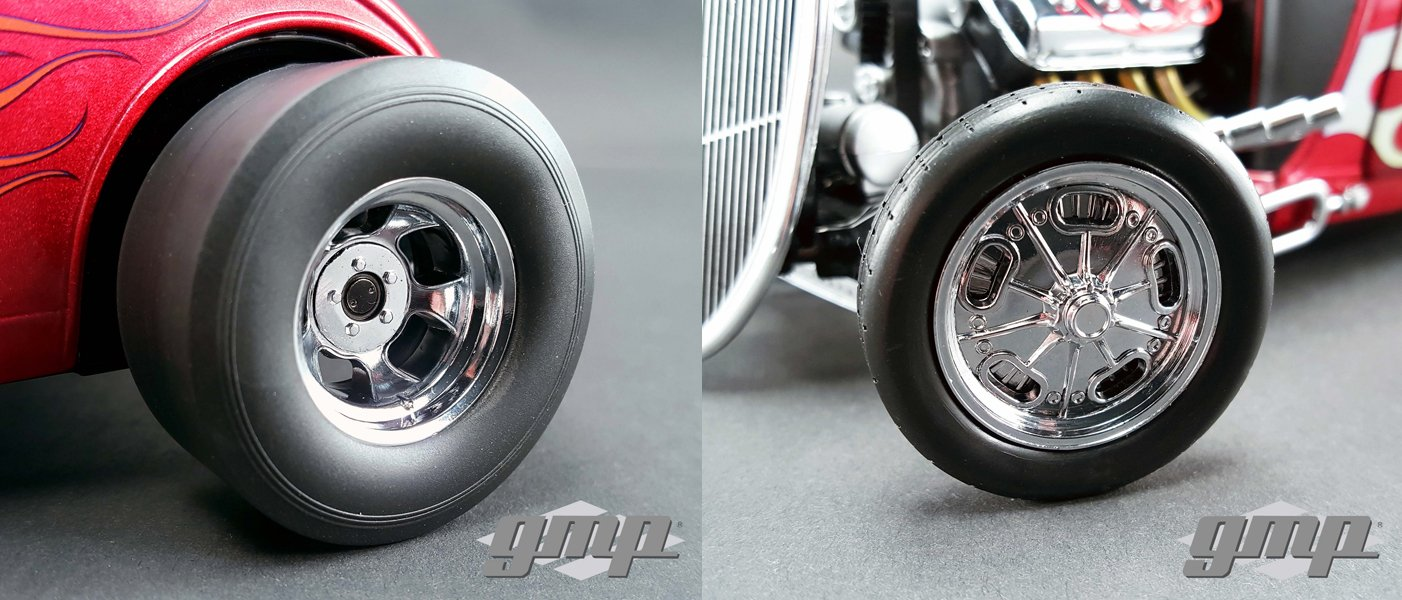 GMP 18841 Chromed Hot Rod Drag Wheels and Tires Set of 4 1//18