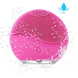 Facial Cleansing Brush AXAYINC Rbber Face Scrubbers Waterproof Silicon Facial Cleaner and Masager Electric Cleansing System for Deep Cleansing Skin Care (Pink)