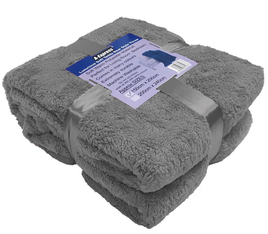 A-Express Large Warm Soft Cuddly Teddy Bear Fleece Throw Sofa Bed Blanket