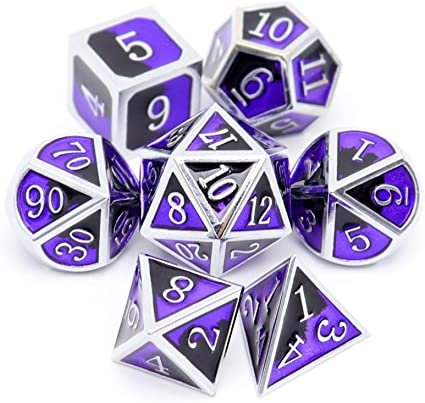 Silver color dice with black number for dungeons and deagons set of solid Metal Dice Silver dice black number DnD Dice set polyhedral Dice
