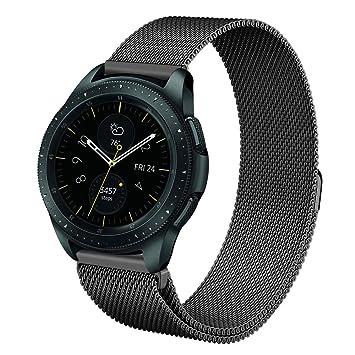 Fintie Correa para Galaxy Watch 42mm / Gear Sport/Gear S2 Classic - 20mm Pulsera de Repuesto de Acero Inoxidable Ajustable Banda, Negro