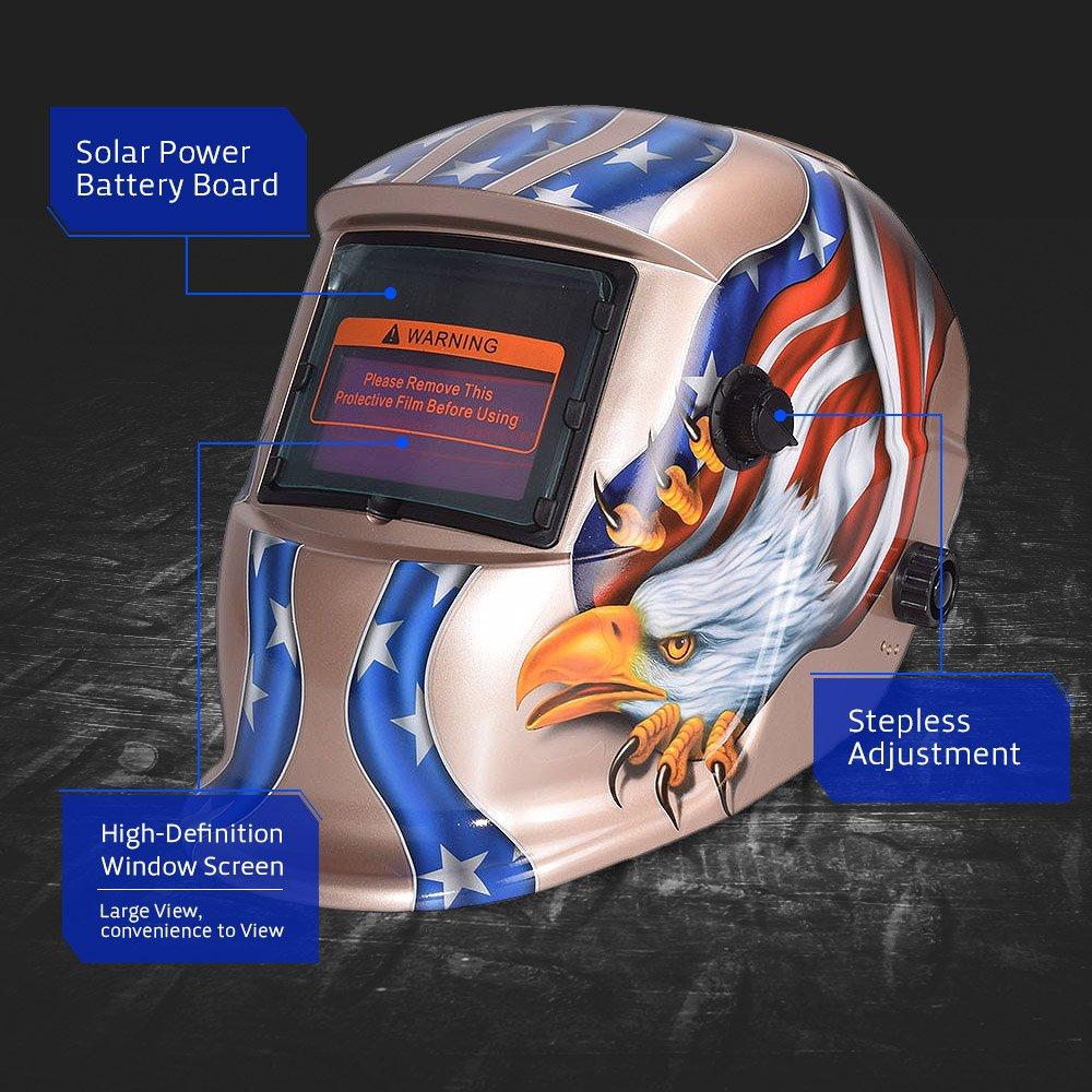 nuzamas funciona con energía solar auto oscurecimiento soldadura casco máscara de soldadura águila cara protección para Arc Tig Mig de Molienda de corte por ...