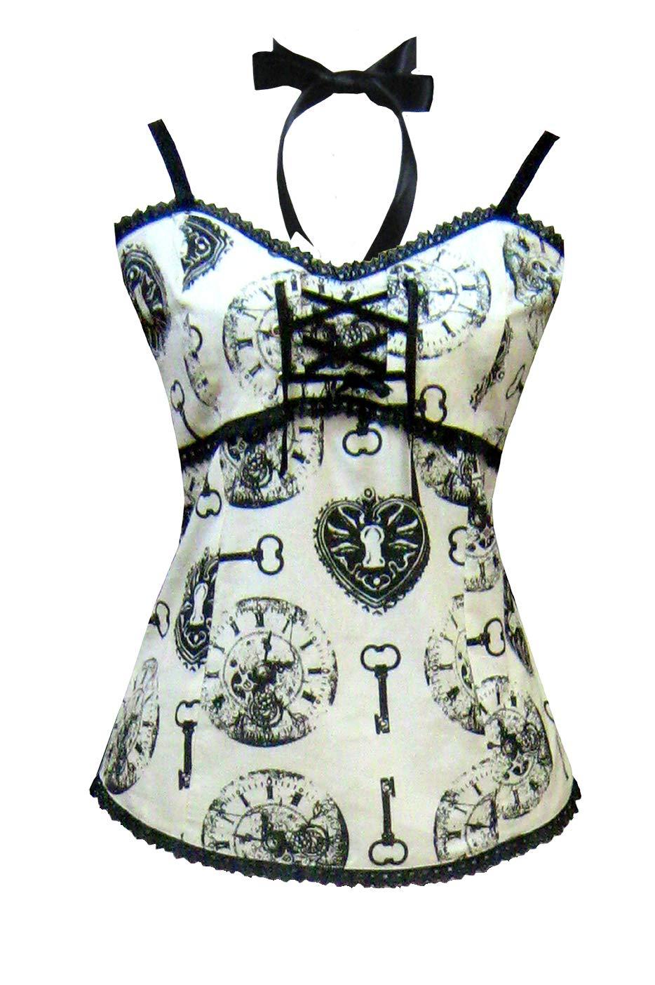 Victorian Steampunk Gothic Alice in Wonderland Clock Print Camisole Ivory Black 3