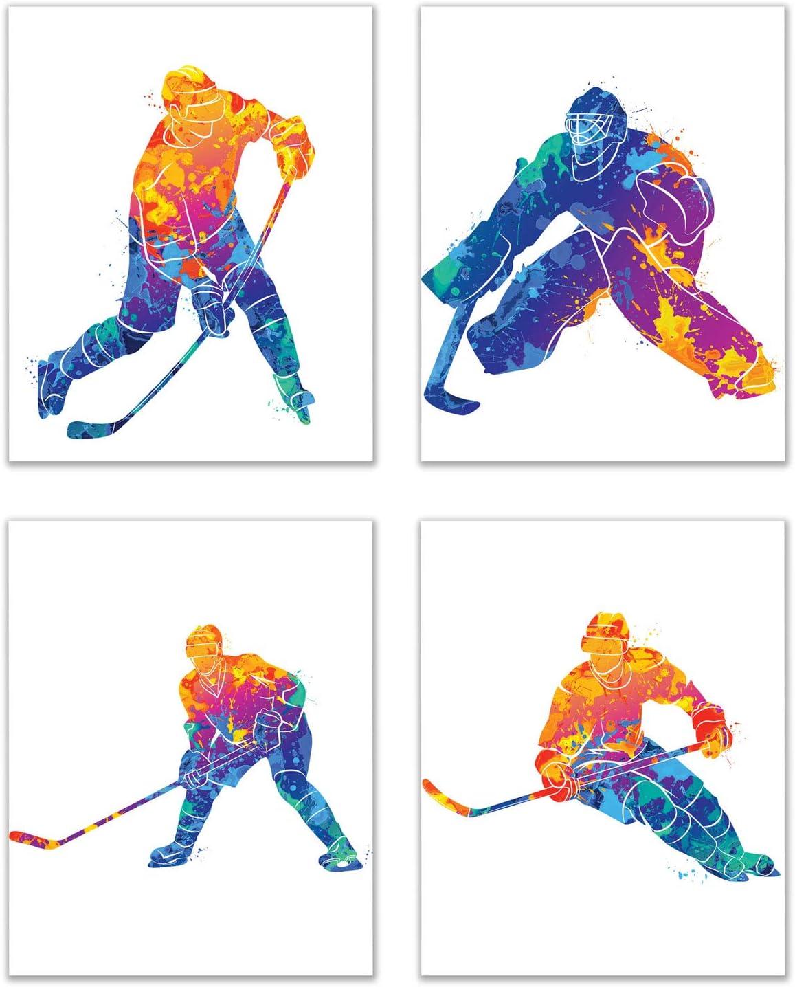 Hockey Watercolor Wall Art Decor Prints - Set of 4 (8x10) Inch Unframed Poster Photos - Bedroom