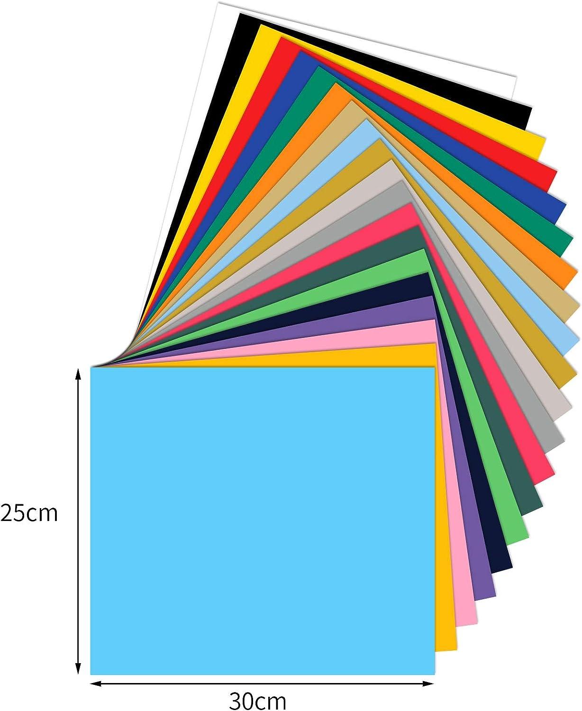 30 x 25cm HTV Heat Transfer Vinyl L/áminas de Transferencia T/érmica de Vinilo para Impresi/ón de Camisetas DIY,20 Colores Opopark 40 Hojas Vinilo Textil Termoadhesivo