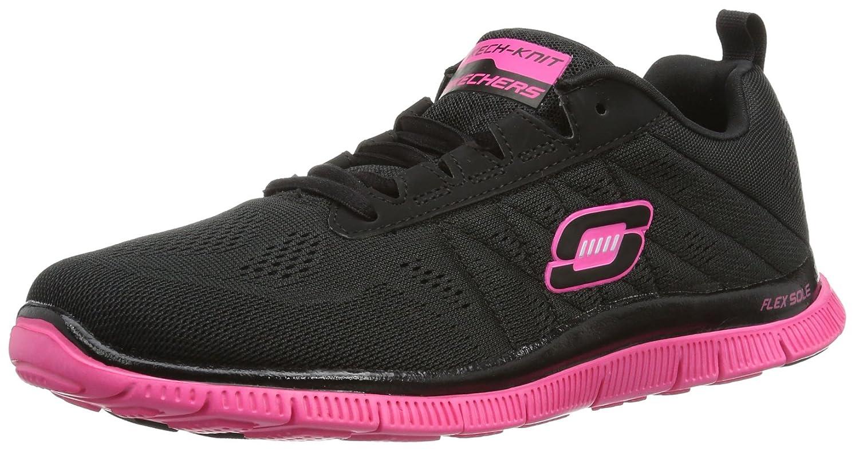 Skechers Damen Flex Appeal Sweet Spot Sneaker, Pink Purple  34.5 EU|Schwarz (Bkhp)