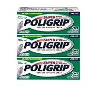 Super Poligrip Denture Adhesive Cream, Zinc Free, Travel Size 0.75 Ounces (Pack of 3)