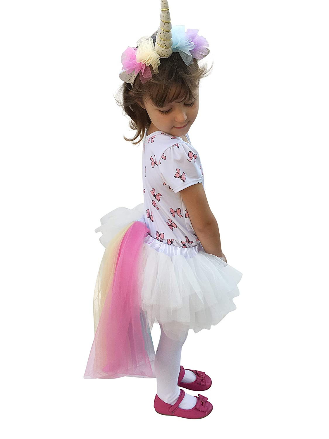 00e0b24b2 Madam Posy Design Girls Unicorn Costume Horn Headband And Tail Dress ...
