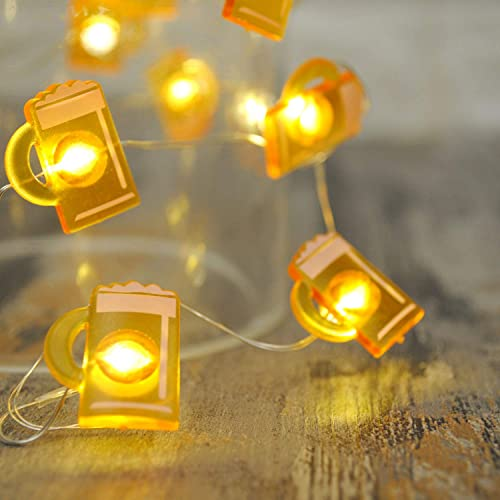 LED Wire Lights, LED String Lights, Battery Operated String Lights with 36 Beer Mug Shaped Warm LEDs for Party, Bedroom, Kitchen, Patio, Deck and more, 12 Feet Long