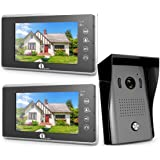 1byone Video Doorbell Kit, 7-inch Color Monitors and Surface Mounted HD Camera Video Doorphone, Control Two Locks and Night Version Intercom System –Black