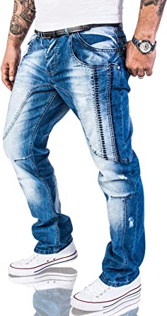 Rock Creek Designer Jeans Spessi Cuciture Blu RC-2056
