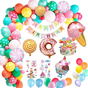 Yansion Candyland Party Decorations,Candy Land Ice Cream Lollipop Donut Theme Birthday Party for Decoration with Happy Birthday Banner Candy Birthday Party Supply Balloon for Kids Children Girls Women