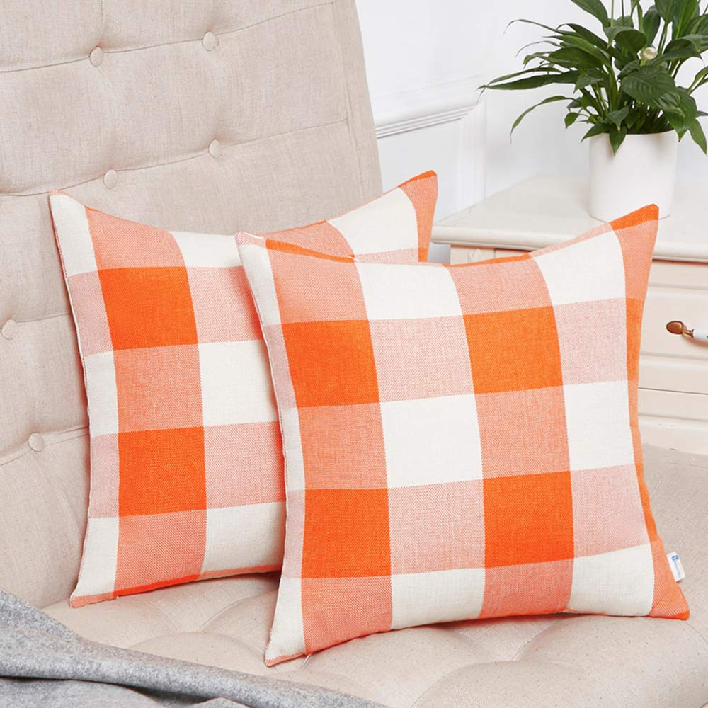 Anickal Set of 2 Fall Orange and White Buffalo Check Plaid Throw Pillow Covers Farmhouse Decorative Square Pillow Covers 18x18 Inches for Home Decor