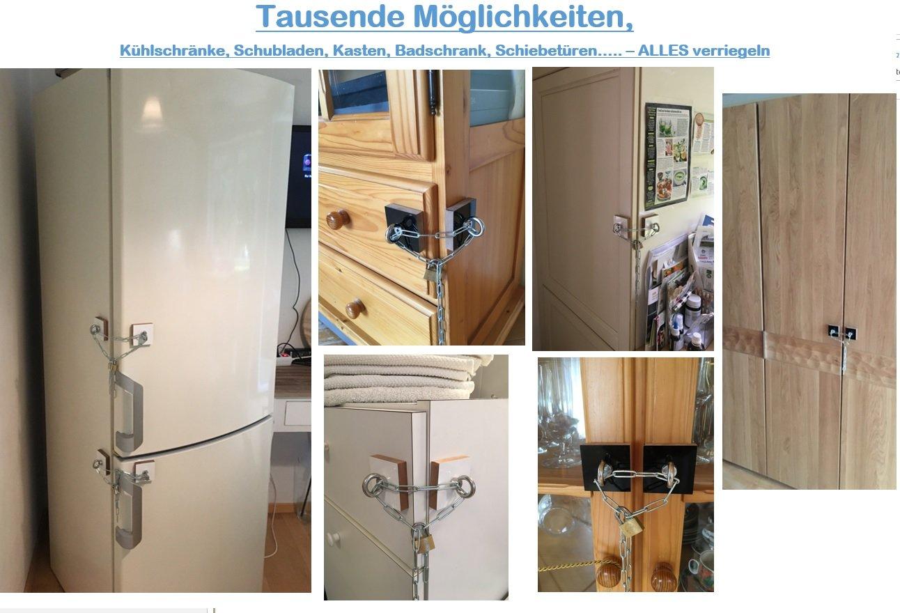 Kühlschrank Verriegeln Set : Kühlschrank schloss set u2013 selbstklebend u2013 nachträgliches schloss