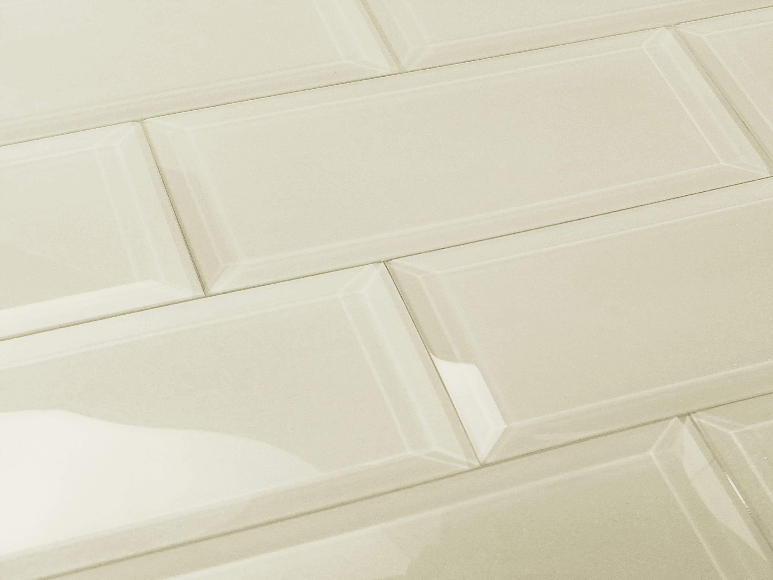 Abolos Frosted Elegance Glossy Crème 3'' x 12'' Beveled Glass Subway Backsplash Tile