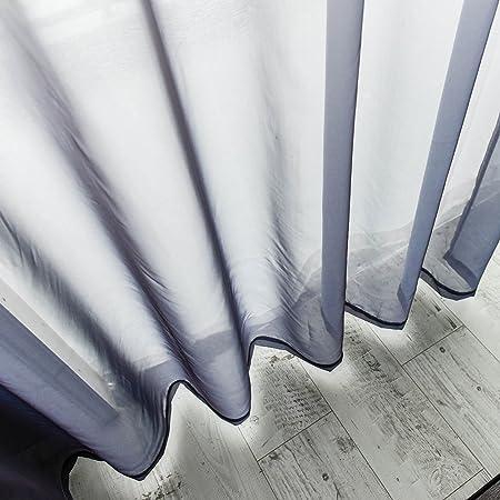 Topfinel Cortinas Dormitorio Cocina Infantiles Moderno Gradiente Translúcidas netas Visillos Paneles para Ventanas niños Habitaciones Gasa con Blanco de Ojales,140 Anchura x 240cm Longitud 1 par Gris