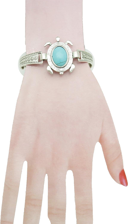 Femmes Argent Métal Chaîne Main Bracelet Poignet Esclave Bague Bleu Turquoise
