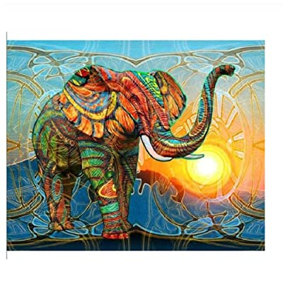 Classic Jigsaw Puzzle 1000 Pieces Adults Children Puzzle Wooden Puzzle DIY Sun Colored Elephant Modern Home Decor Wall Art Picture Unique Gift 75x50 cm: Toys & Games