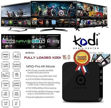 MXQ Pro Android TV BOX Amlogic S905 Quad Core 100M LAN de 1 GB / 8 GB Iptv Set Top Box preinstalados Wi-Fi de 2,4 GHz Bluetooth 4.0 KODI Streaming Media Player: Amazon.es: Electrónica