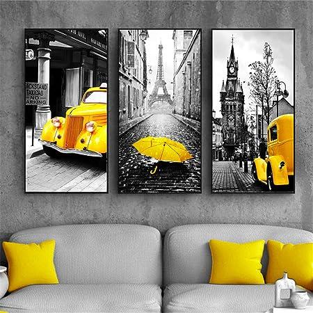 ZSLMX 3 Paneles Arte Moderno De La Pared Amarilla Y Gris ...