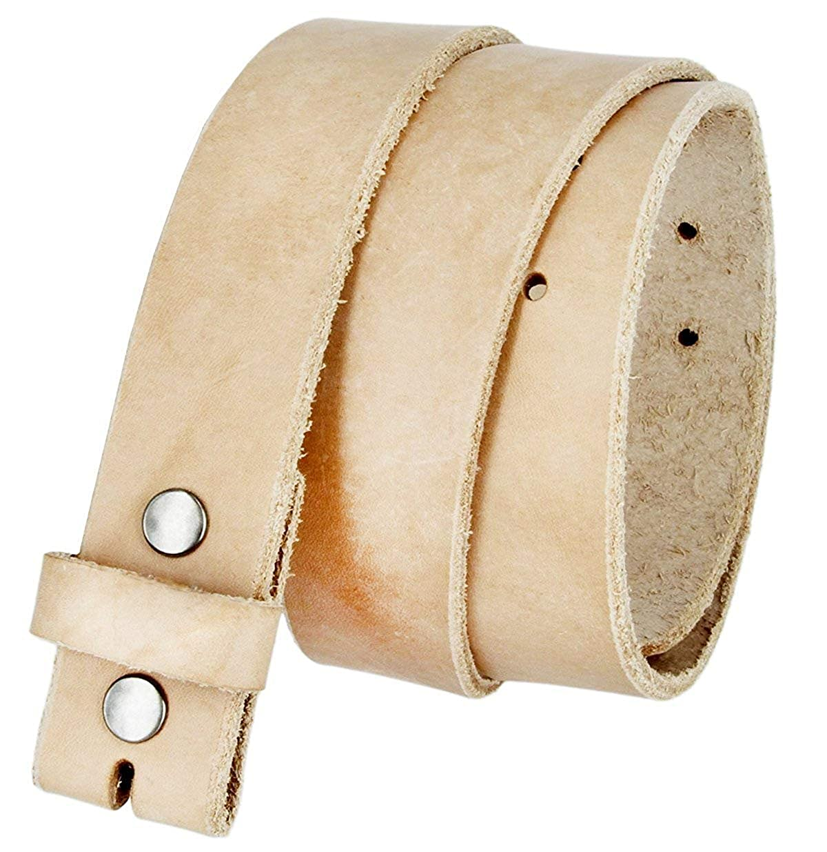 Pele Belt Men 32 mm Wide Natural Color 1 Piece Cowhide Raw Edges Thick Strap
