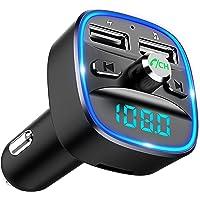 Cocoda Transmisor FM Bluetooth, [Luz de Anillo Azul] Manos Libres para Coche, Inalámbrico Reproductor MP3 Mechero Coche…