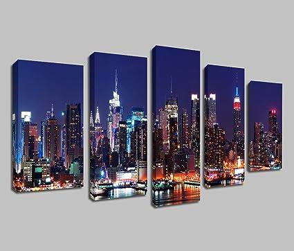 Amazon.com: ARTGOW 5 Piece Canvas Wall Art New York City NYC ...