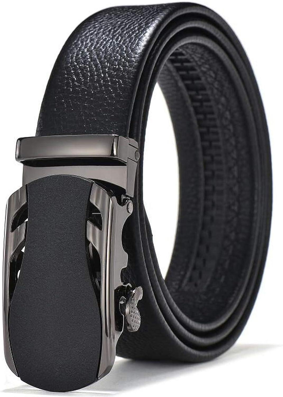 DAHODA Mens Leather Belt /& Ratchet Black Dress Belts for men with sports car shape Metal Automatic Buckle